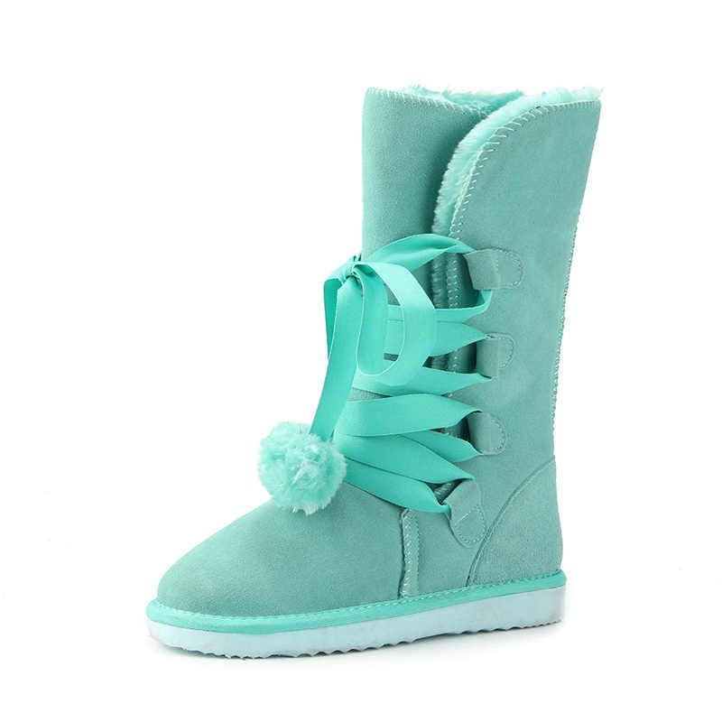 JXANG באיכות גבוהה שלג מגפי נשים חורף אתחול נשים אופנה אמיתי עור אוסטרליה קלאסי נשים גבוהה אתחול החורף