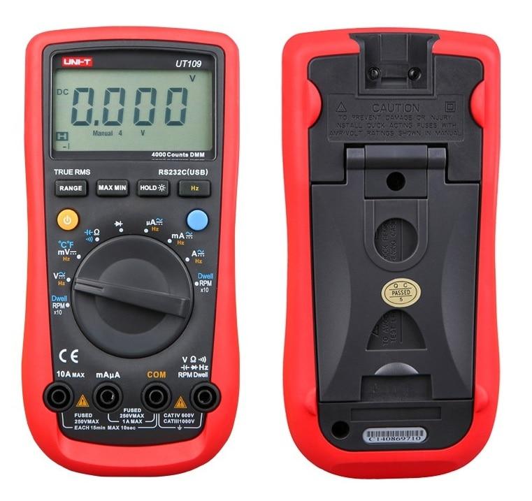 UNI-T UT109 Handheld Automotive Multipurpose Meters Auto Range Multimeters USB PC Connect Dwell Tach LCD Backlight