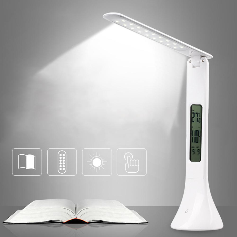 HobbyLane 4W USB LED Desk Lamp Adjustable Folding Table Lamp With Alarm Clock Temperature Calendar Atmosphere Study Lights