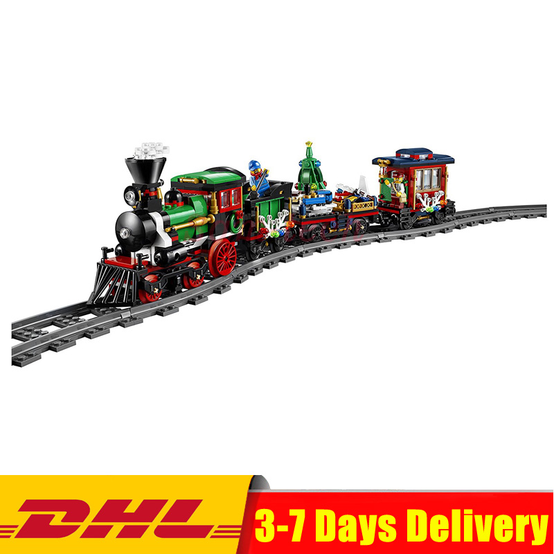 Clone 10254 Lepin 36001 Creative Series The Christmas Winter Holiday Train Set Children Building Blocks Bricks Christmas Gifts dhl lepin 36001 winter holiday train 36011 winter village train educational building blocks toys gifts clone with 10254 10259