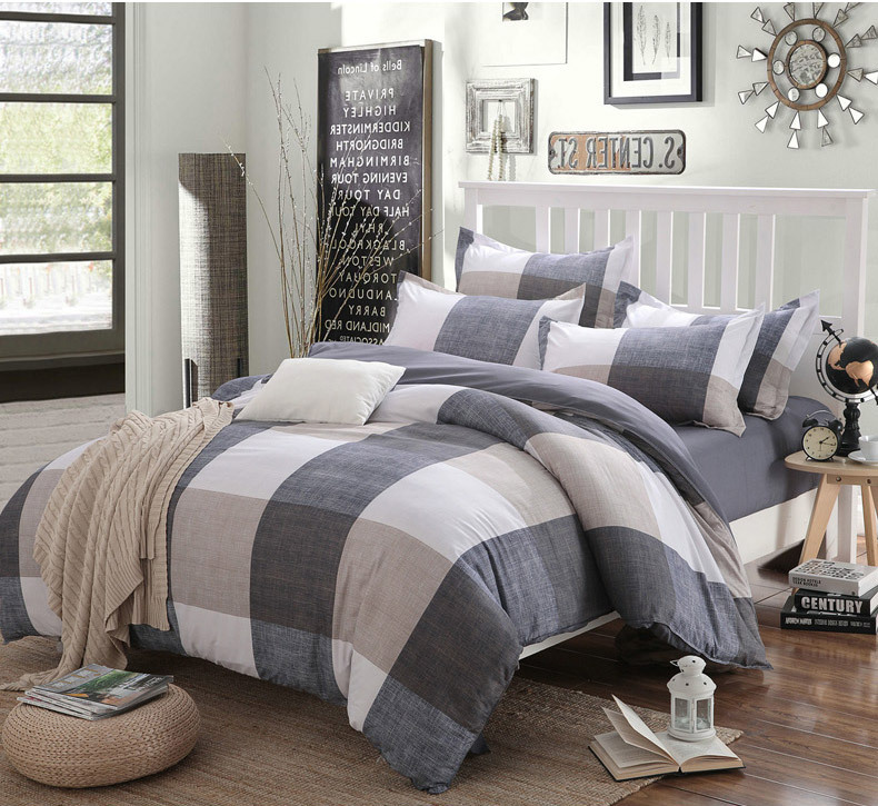 Cotton Striped Lattice Bedding Set Full Queen Super King Size Duvet Cover Bed Sheet Pillowcase Soft Kids 4pc Bedclothes