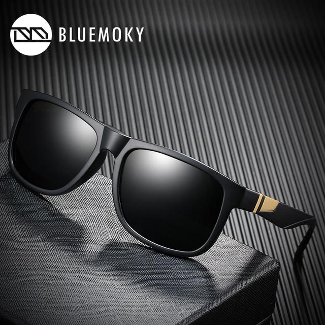 BLUEMOKY Square Black Sun Glasses for Men UV400 Polarized Brand Designer Sunglasses Men Driving Polaroid Shades for Men 2019