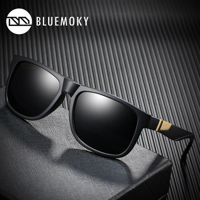 BLUEMOKY مربع أسود نظارات شمسية للرجال UV400 الاستقطاب العلامة التجارية مصمم النظارات الشمسية الرجال القيادة بولارويد ظلال للرجال 2019