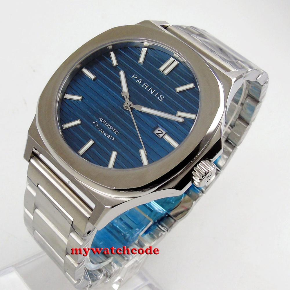 New arrive square 44mm parnis 블루 다이얼 날짜 빛나는 miyota 기계식 시계 자동식 남성 시계 p1240-에서기계식 시계부터 시계 의  그룹 1