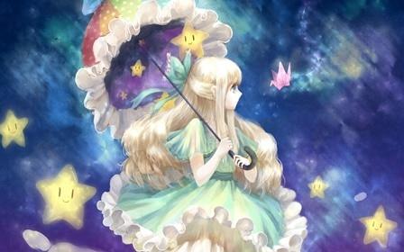 Art cea lovely girl umbrella bow stars anime clouds