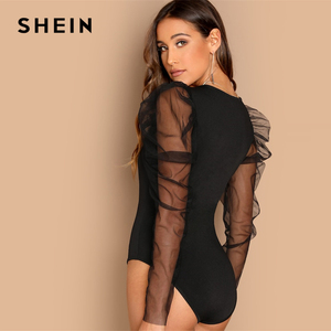 SHEIN Night Out Modern Lady Contrast Mesh Gigot Sleeve Mid Waist Skinny Bodysuit Women Autumn Plain Elegant Bodysuits