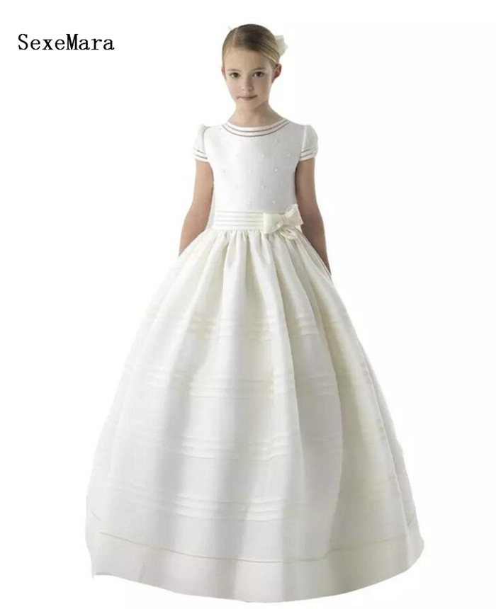 New Arrival First Communion Dresses for Girls Vintage Satin Puffy Dress Ball Gown Girls Pageant Dresses Flower Girls Dresses elegant luxury girls pageant dresses 2018 pearls girls communion dress ball gown kids formal wear flower girls dresses