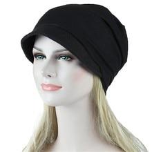 Hats Hip-Hop-Caps Stretch Fashion Solid Women Turban Sun-Visor India Muslim Female Vintage