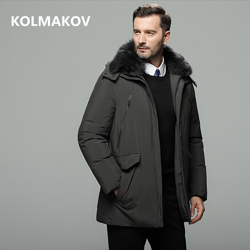 2019 Men's New Arrival Winter White Duck Down Jacket Mens Thick Hooded Coats with Fur Collar Parkas Top Quality Dress Male