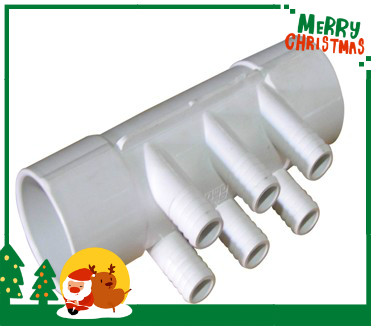 PVC Water Manifold 2S x 2 S with 6 3/4 Ports , 2 PVC Manifold female inlet and male outlet,Spa Hot tub