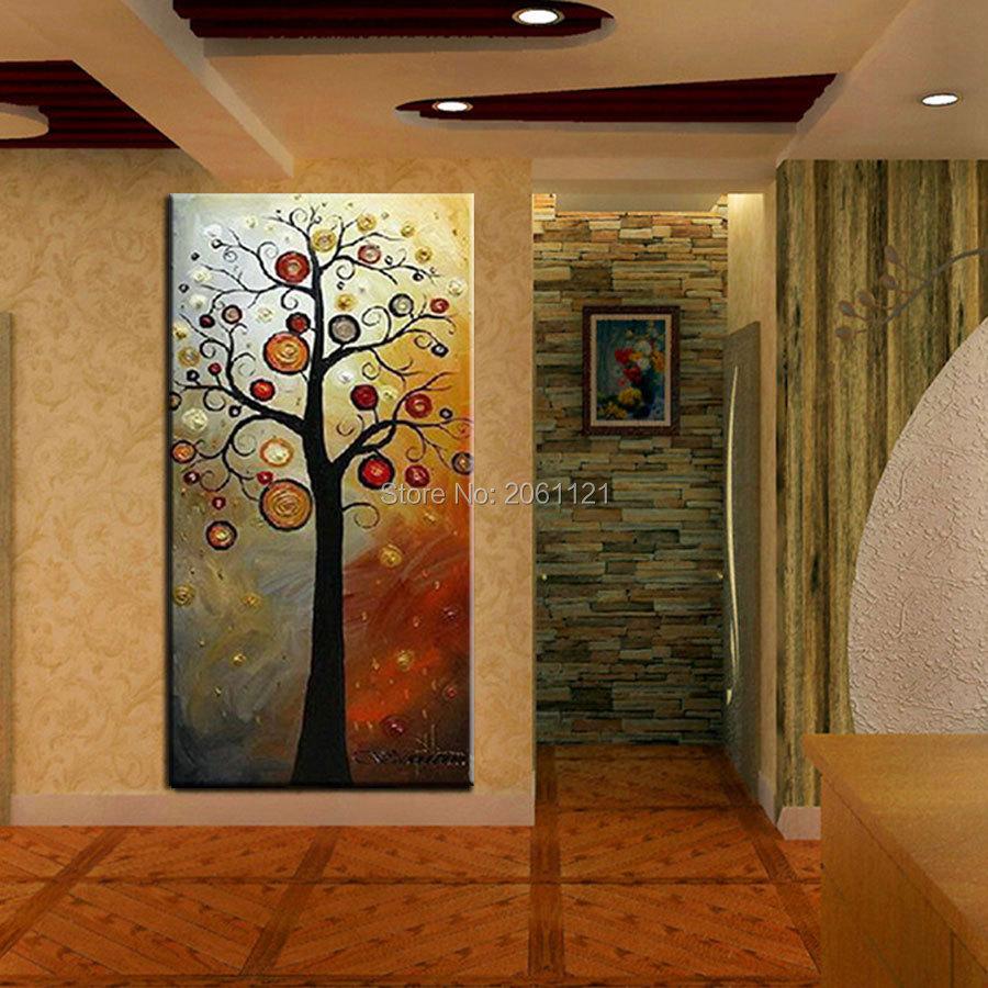 Tangan dicat lukisan minyak di atas kanvas pohon kehidupan abu-abu - Dekorasi rumah - Foto 3