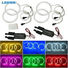 LEEWA 4X 127.5mm Car CCFL Halo Rings Angel Eyes LED Headlights for BMW E32 E34 E30 DRL Car-Styling White/Blue/Yellow/Red #CA4164(China)