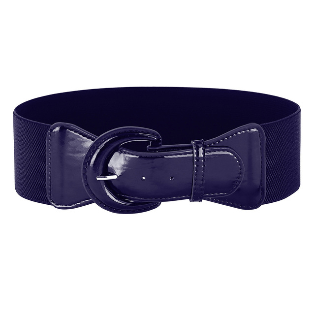 630b9eca9316a Belts Women Fashion Wide Faux Polyurethane Leather Solid Wide Metal Hook  Stretchy Ladies Elastic Waist Belt