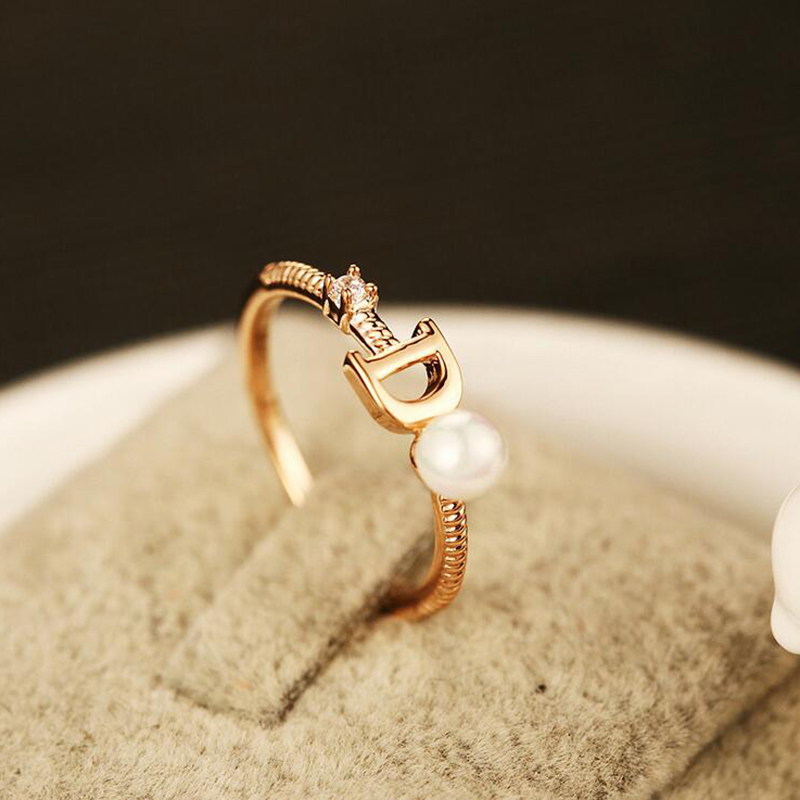 f2d4b08f36b85 2017 New Brand Fashion Design Female Ring D Letter Ladies Pearl Rings  Crystal Zircon Rose Gold Metal Rings Wedding Party Gift