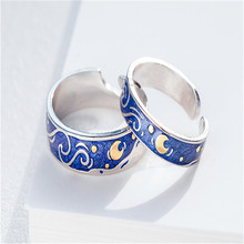 Van Gogh Starry Couple Ring  Blue Night Adjustable rings for Women man Engagement Moon For Lover Gift