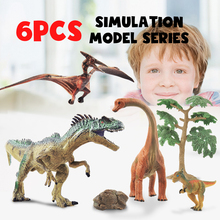 6pcs Park Dinosaur Model Toys For Kids PVC Simulation Animals Tree Sets Child Dragon Action Play Figure Baby Boys