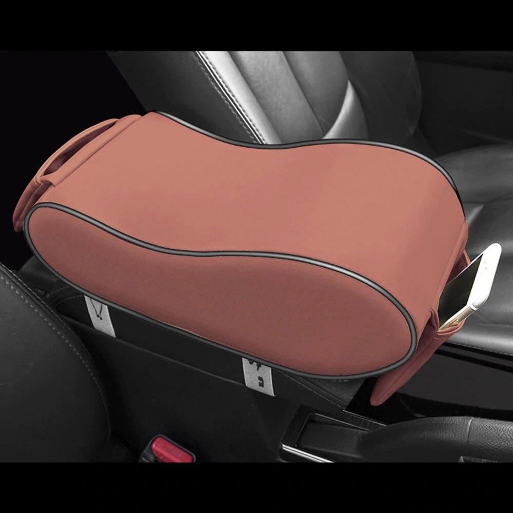Vehemo PU кожаный подлокотник коробка авто подлокотник Подлокотник наволочка Универсальное Украшение Подушка подлокотник накладки на коробку - Название цвета: Brown