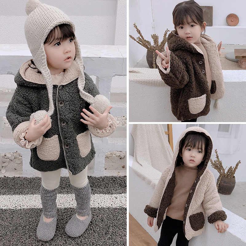 תינוק בני בנות צמר מעיל 2019 חורף פעוט ילדים מעיל חם סלעית מעילי ילדים פעוט תלבושת בגדי 2 3 4 5 6 שנים