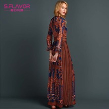 Fashion Women Long Dress Chiffon Long sleeve Print Maxi Dress Elegant Casual Party Dresses sexy Vestidos