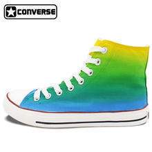 Gradient Color Yellow Green Blue Converse All Star Men Women Shoes Custom Original Design Hand Painted Shoes Boys Girls Sneakers