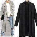 Новый бренд моды Америка И Европейский Стиль Женская Откройте Переднюю Плащ Длинный Плащ Пальто Водопад Кардиган Пальто