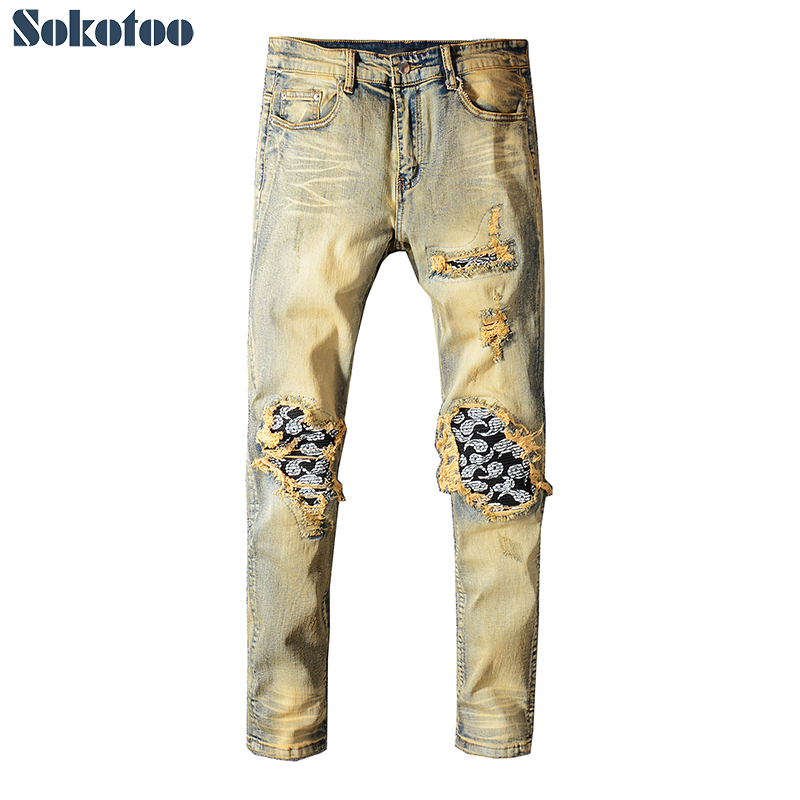 Sokotoo Men's bandanna paisley printed patchwork biker   jeans   for motorcycle Slim skinny vintage ripped stretch denim pants