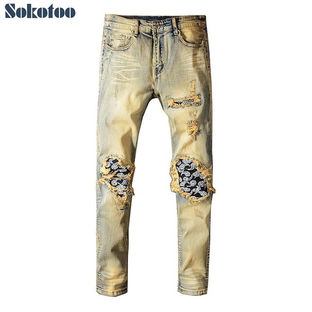 Sokotoo для мужчин бандана Пейсли печатных лоскутное байкерские джинсы для мотоциклов Тонкий Тощий Винтаж рваные стрейч джинсовые штаны