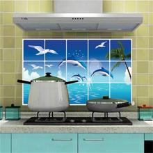 New 3D DIY Sticker Name Dolphin Ocean Oil-proof Kitchen Wall Stickers For Kitchen Tiles Posters Nautical Decor Wall Decals