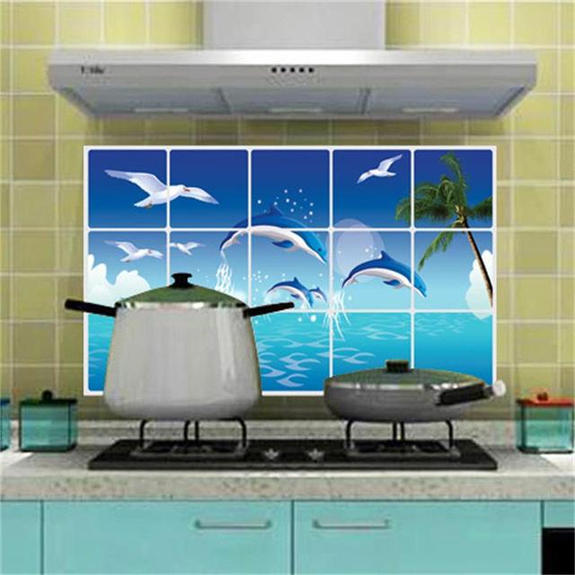 New 3D DIY Sticker Name Dolphin Ocean Oil Proof Kitchen Wall Stickers For Kitchen  Tiles