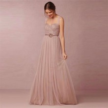 Champagne 2017 A line Spaghetti Straps Floor Length Tulle Lace Long Bridesmaid Dresses Cheap Under 50