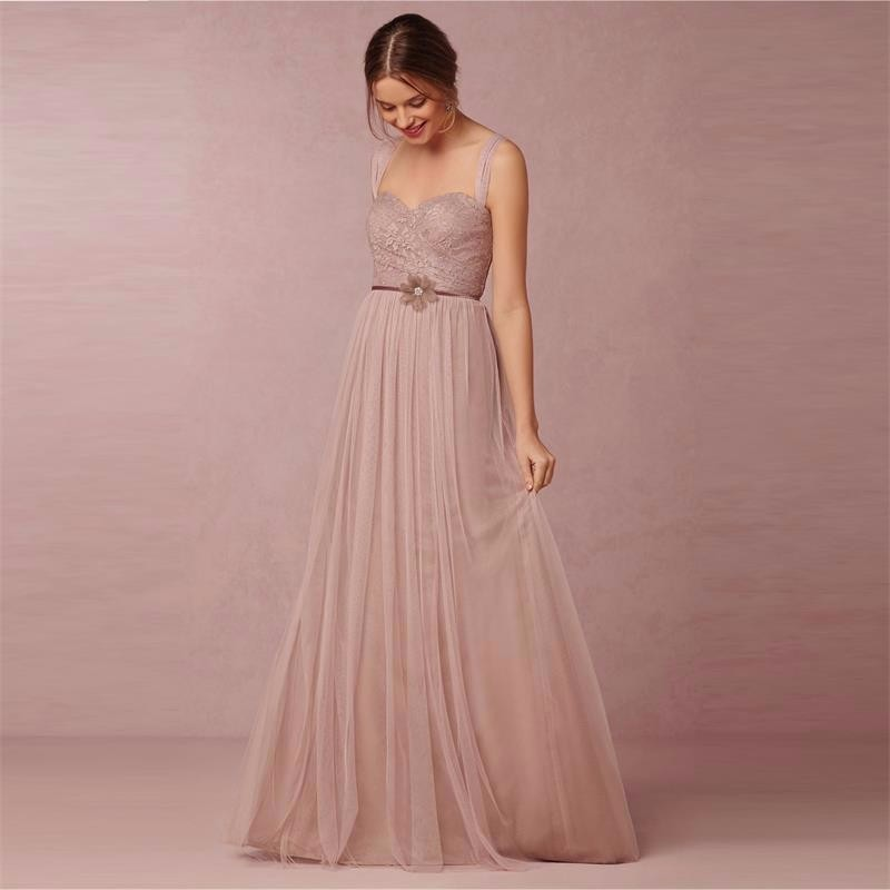 Champagne 2017 A line Spaghetti Straps Floor Length Tulle Lace Long font b Bridesmaid b font