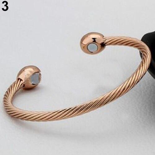 Bracelet de thérapie magnétique en cuivre de guérison Bracelet torsadé de soulagement de la douleur d'arthrite