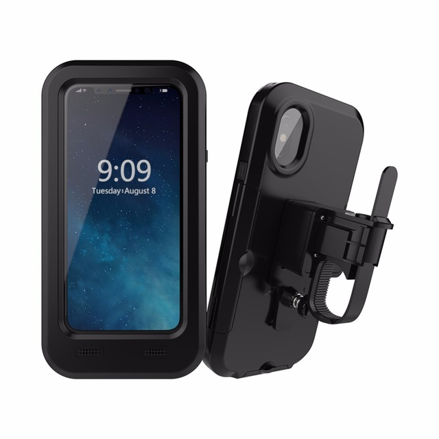 super popular 4b0cc 8e78f US $17.99 10% OFF|Waterproof Motorcycle Bike Handlebar Mount Holder Case  for iPhone X Outdoor Shockproof Bicycling Case Cover-in Fitted Cases from  ...