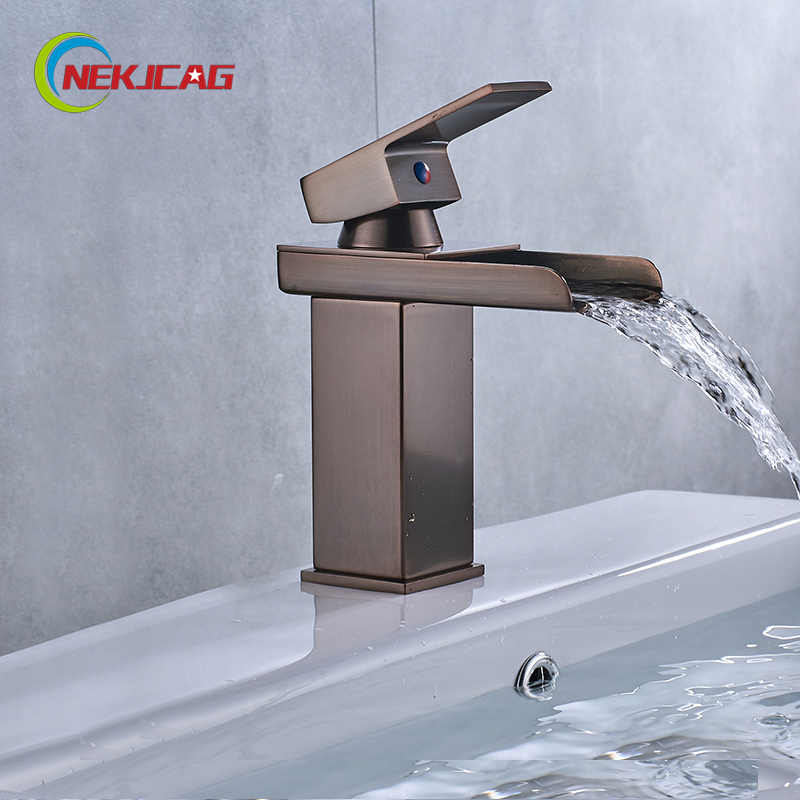 Bathroom Basin Faucet Red ORB Finished Water Mixer Hot Basin Tap Single Handle Faucet newest washbasin design single hole one handle bathroom basin faucet mixer tap hot and cold water orb chrome brusehd