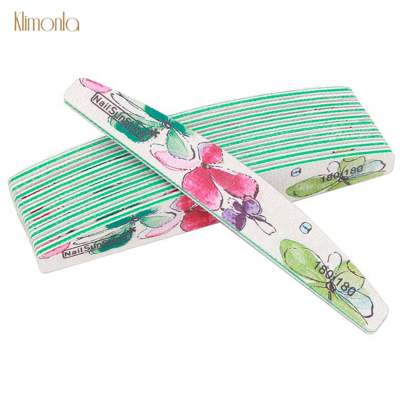 6Pcs Lime A Ongle Professionel Nail File 180/180 Grit Sanding Stripe Double Sided Buffing Manicure Pedicure Tool Chinese Style