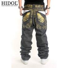 2017 мода мужская свободные прямые street dance «hip hop джинсы орел вышивка скейтборд длинные брюки