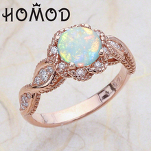 HOMOD Elegant Rainbow Opal Ring Fashion Rose Gold Filled White CZ Wedding Jewelry Engagement Oath Rings for Women anillos