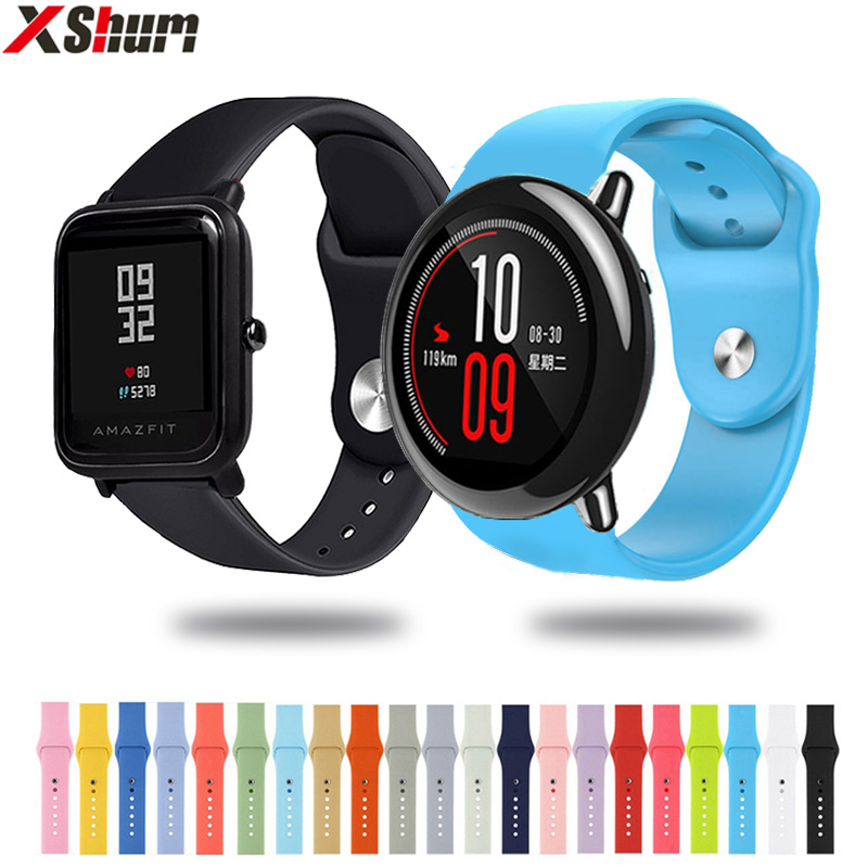 XShum Silicone Band 22mm 20mm For Xiaomi Amazfit Bip Pace Strap Universal Band Wrist Sport Silicone Strap Smart Watch bracelet