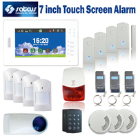 Customized Intelligent 7 Inch Touch Screen Wireless GSM Alarm System 850 900 1800 1900MHz Password Kedpad