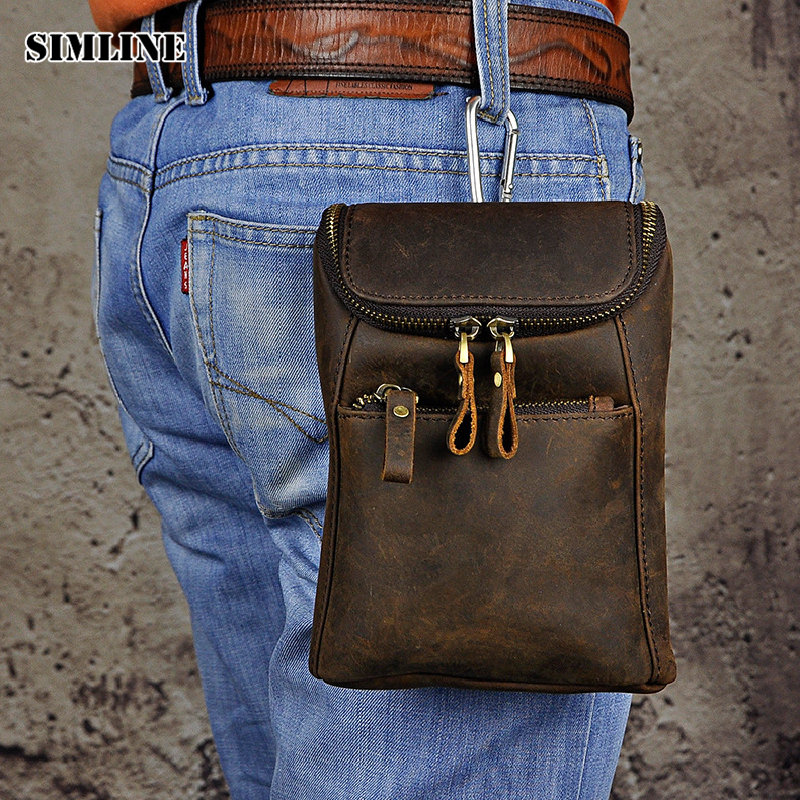 SIMLINE Vintage Casual 100% Genuine Leather Real Cowhide Mens Men Waist Bag Pack Small Shoulder Crossbody Bag Bags Packs For Man simline 2017 vintage genuine crazy horse leather cowhide men men s messenger bag small shoulder crossbody bags handbags for man