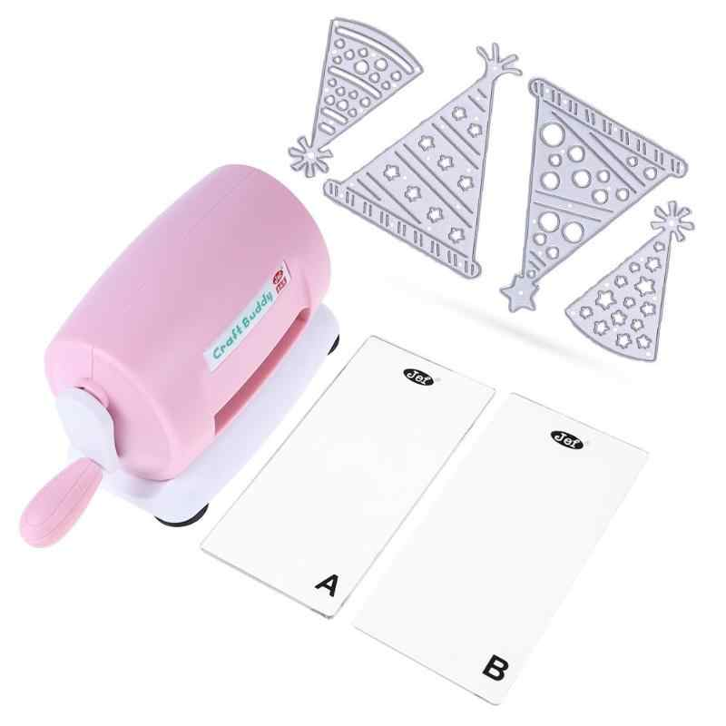 DIY Dies Cutting Embossing Machine Scrapbooking Dies Cutter Paper Card Die-Cut Machine Home Embossing Dies Tool Pink Purple
