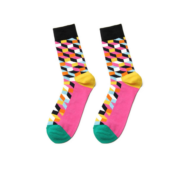 PEONFLY Fashion New High Quality Comfortable Cotton Autumn Winter Creative Colorful Square Geometric Casual Men Long Happy Socks