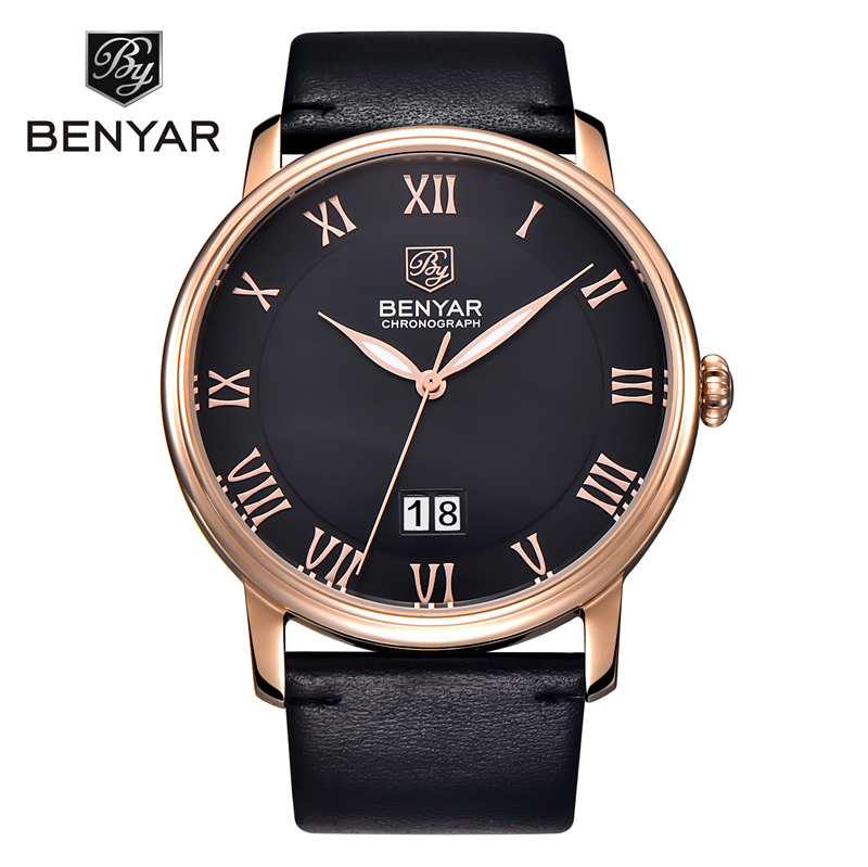 BENYAR Watch Men Watch Fashion Waterproof Watches Saat Men's Watch Leather Clock Relogio Masculino Erkek Kol Saati Reloj Hombre arte lamp спот arte lamp focus a5219ap 2ab