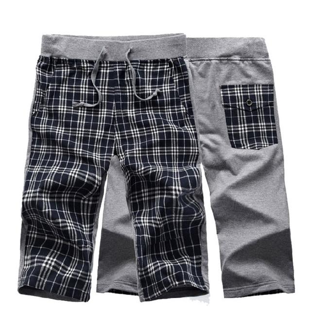 New 2014 Fashion casual Hip hop capri the brand sport shorts men summer wear swimwear British Plaid trousers free shipping D117