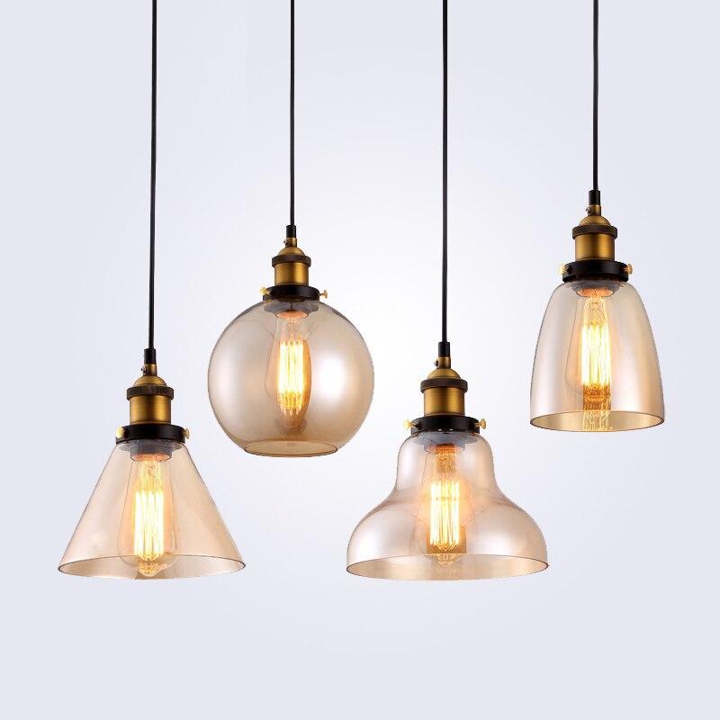Rétro Vintage Pendentif Lumières Effacer Verre Abat-Jour Loft Pendentif Lampes E27 110 V 220 V pour Salle À Manger Décoration de La Maison éclairage