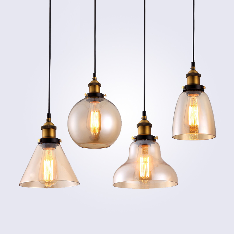 Retro Vintage Pendant Lights Klar Glas Lampeskærm Loft Vedhæng Lamper E27 110V 220V til Dinning Room Home Decoration Lighting