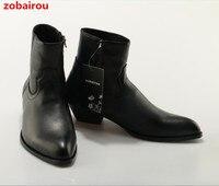 Zobairou New Hot Wyatt Biker Chains Men Boots Flats Suede Anke Boots Side Zip Men Fashion