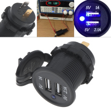 Universal Motorcycle Car Charger Black  5V 3.1A Waterproof Dual USB Motorycycle for Motorbike