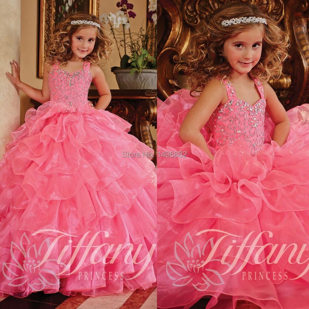 Hot Pink Princess Flower Girl Dresses For Weddings 2015 Vestidos