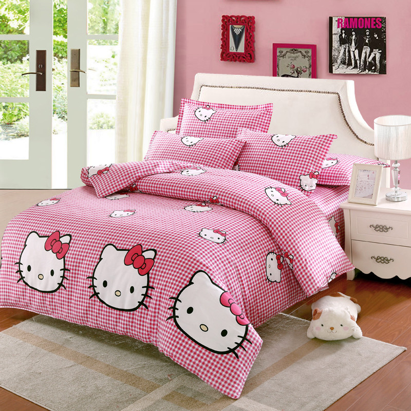 Hello Kitty plaid beddding set Twin Full Queen King Size Comfortable Quilt cover Duvet Cover bed Sheet pillow cases bedclothes